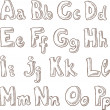 Handwritten alphabet in sketch style A-P — Stockvektor