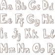 Рукописные алфавит в стиле эскиз A-P — Cтоковый вектор