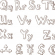 Royalty-Free Stock Vector Image: Handwritten alphabet in sketch style Q-Z and symbols of money