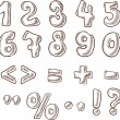 Handwritten numerals and symbols in the sketch style — Imagen vectorial