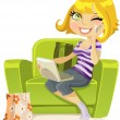 Pretty blonde sitting in a chair with a laptop and talking on the phone — Stockvektor
