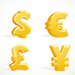 Monetary gold signs - dollar, pound, euro and yen — Stock Vector #9876046