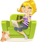 Hezká blondýnka sedí v křesle s notebookem a mluví po telefonu — Stock vektor