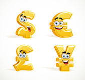 Monetary signs smiling emoticons - dollar, pound, euro and yen — Stock Vector