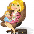Business mom with baby boy in an office chair — Stockvectorbeeld