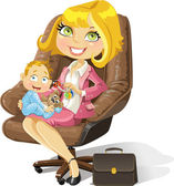 Business mom with baby boy in an office chair — Stock Vector