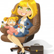 Business mom with baby girl in an office chair — Stock Vector