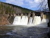 Anthropogenic waterfall in satka river - village Porogi, Satka, Ural, Russi — Stock Photo