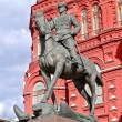 Zhukov monument near National historic museum in Moscow, Russia — Stock Photo #8519432