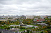 Panorama of central museum of Astronautics and Ostankino tower in Moscow, R — Stock Photo