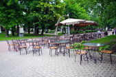 Cafe in the park Hermitage, Moscow, Russia — Stock Photo