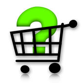 Consumer Cart with Question Mark — Stock Photo