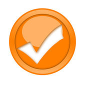 Orange check mark button — Stock Photo