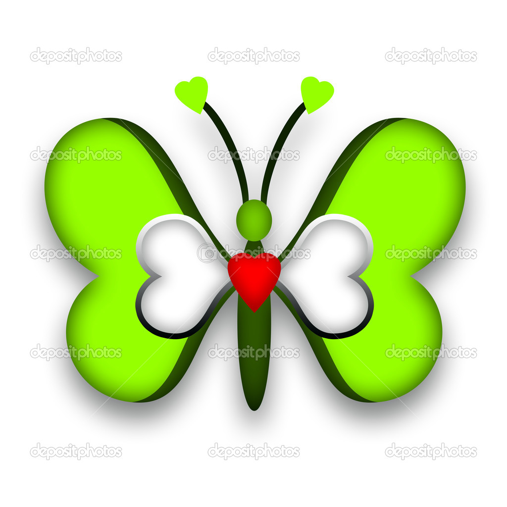 Green romantic butterfly with hearts over white background — Stock Photo #9211723