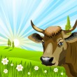 Cow in field - Stock Vector