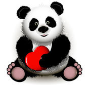 Panda with red heart — Stock Vector