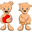 Two of teddy bears — Stock Vector