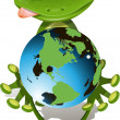 Frog and globe — Stock Vector
