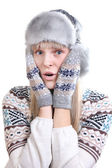 Surprised young woman in winter clothes — Stock Photo