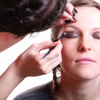Stock Photo: Makeup artist applies eye shadow