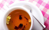 White tea cup with close-up — Stock Photo