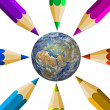 Crayons and the Earth — Stock Photo #7970576