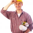 Construction smiling into the camera — Stock Photo