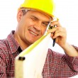 Handsome skilful woodworker - Stock Photo
