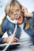 Hard-working young blonde — Stock Photo