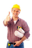 Builder shows gesture OK — Stock Photo