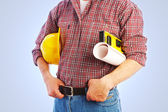 Handsome skilful woodworker — Stock Photo