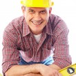 Smiling handsome man-builder — Stock Photo