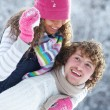 Young pair in winter park — Stock Photo #9900358