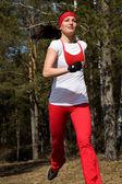 Running Beautiful woman — Stock Photo