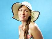 Portrait attractive woman in hat — Stock Photo