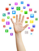 Hand with mobile applications — Stock Photo