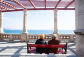 Elders sitting on a bench — Stock Photo