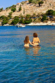 Bathers, Kefalonia sea — Stock Photo