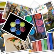 Stock Photo: Art tools postcards