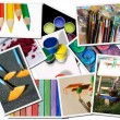 Art tools postcards - Stock Photo