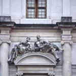 Statue on the Palazzo nuovo, Bergamo alta — Stock Photo