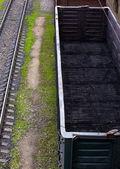 Vagones de mercancías con polvo de carbón — Foto de Stock