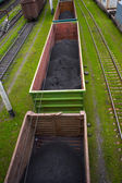 Goods wagons with coal dust — Stock Photo