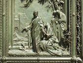 Jesus, Relief on Milan cathedral door — Stockfoto