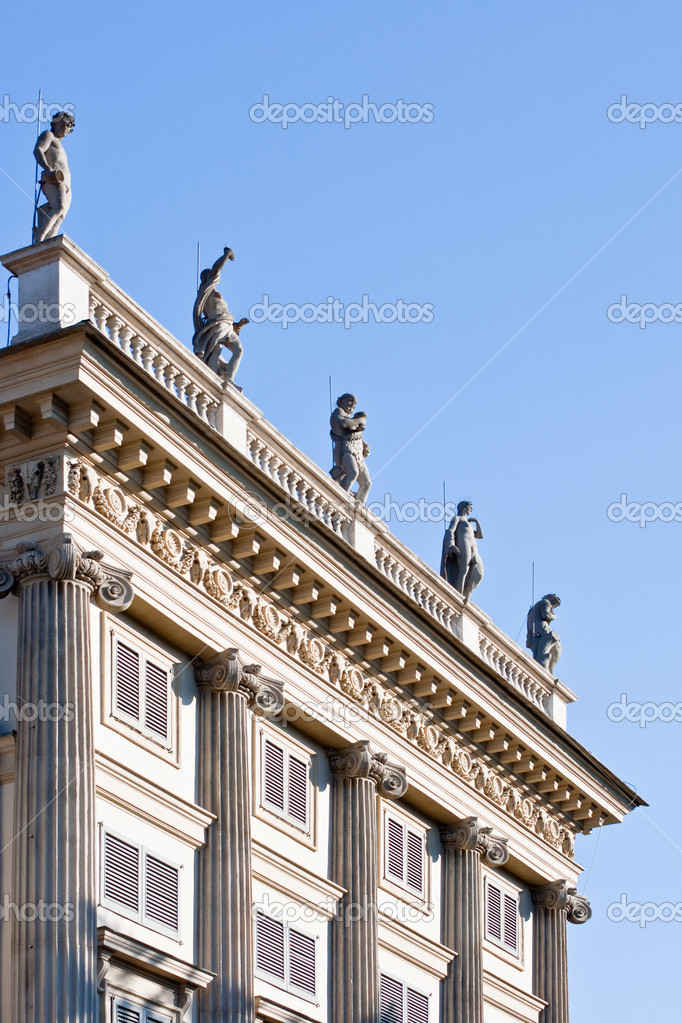 Statue on the balaustrade, Milan - Italy  Stock Photo #8222910