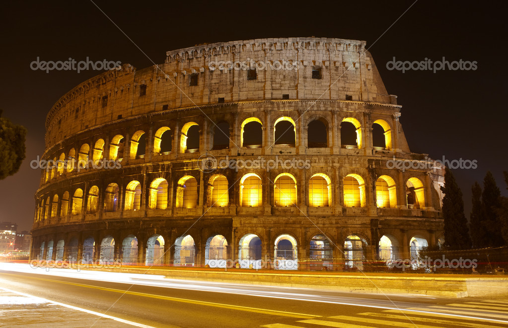 The Colosseum at night, Rome, Italy  Stock Photo #8610416