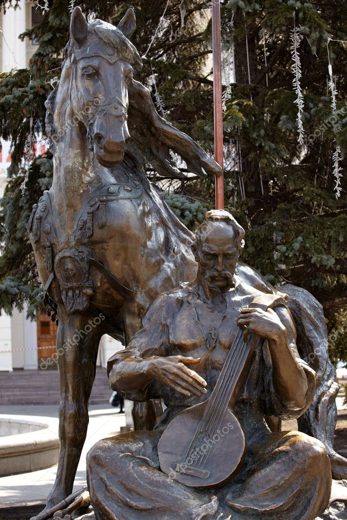 Statue Of Cossack Mamay, Indipendence square in Kiev — Stock Photo #8732558