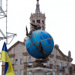 Blue terrestrial globe sculpture, Kiev — Stock Photo