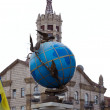 Blue terrestrial globe sculpture, Kiev — Stock Photo #8744812