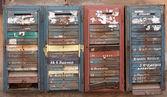 Iron rusty vintage mailboxes — Stock Photo
